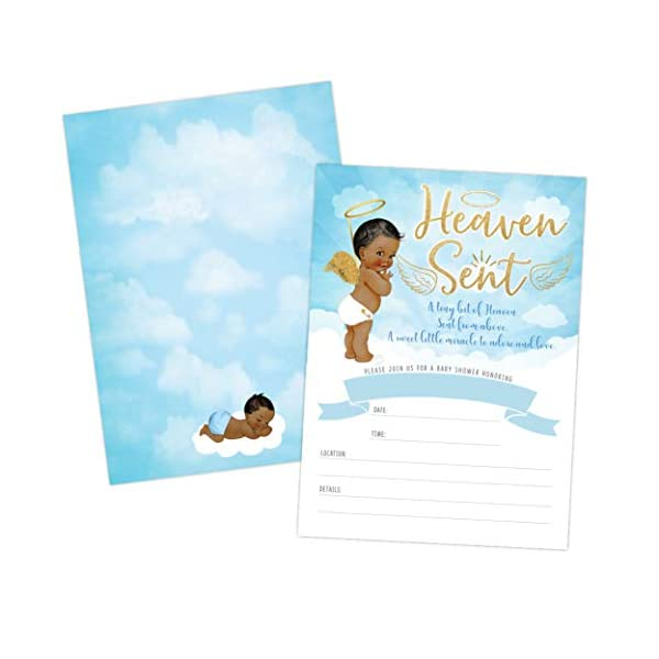 Heaven Sent Boy Baby Shower Invitation, African American Cute Clouds and Celestial Angel Baby Shower Invite, Twinkle Twinkle Little SAR, 20 Fill in Invitations and Envelopes