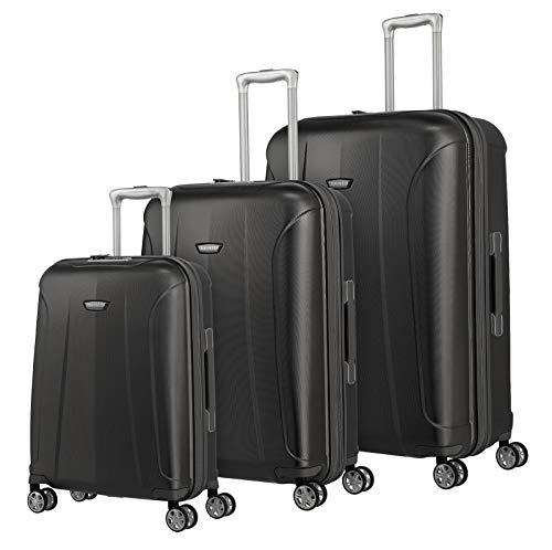 travelite 4-Rad Koffer Set Größen L/M/S mit TSA Schloss, Handgepäck erfüllt IATA-Bordgepäck Maß, Gepäck Serie ELBE: Widerstandsfähige Hartschalen Trolleys, 075540-04, anthrazit (grau)