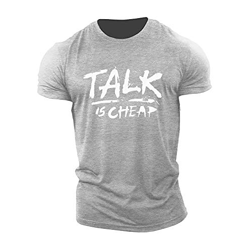 Camiseta Hombre Verano Impresión Letras Creativas Cuello Redondo Hombres Sueltos Streetwear Stretch Patrón Transpirable Cómoda Shirt Deportiva Hombres Viajes Hombres Manga Corta F-Grey 1 XXL