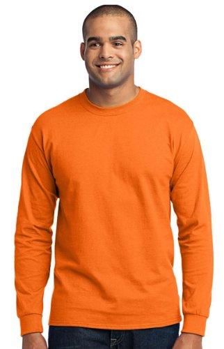 Port & Company Long Sleeve Core Blend Tee. PC55LS Safety Orange M