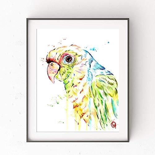 Parrot Wall Art, Parrot Art Print, Parrot Painting, Bird Wall Decor, Tropical Artwork   Professional Art Print of a Colorful Original Parrot Watercolor Painting   2 Sizes