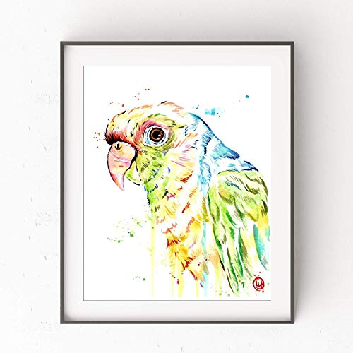 Parrot Wall Art, Parrot Art Print, Parrot Painting, Bird Wall Decor, Tropical Artwork | Professional Art Print of a Colorful Original Parrot Watercolor Painting | 2 Sizes