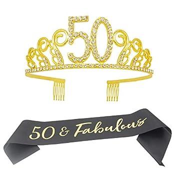 50th Birthday Tiara and Sash- 50 & Fabulous Black Satin Sash and Crystal Tiara Birthday Crown for 50th Birthday Party Supplies and Decorations  Sash+Tiara / Gold