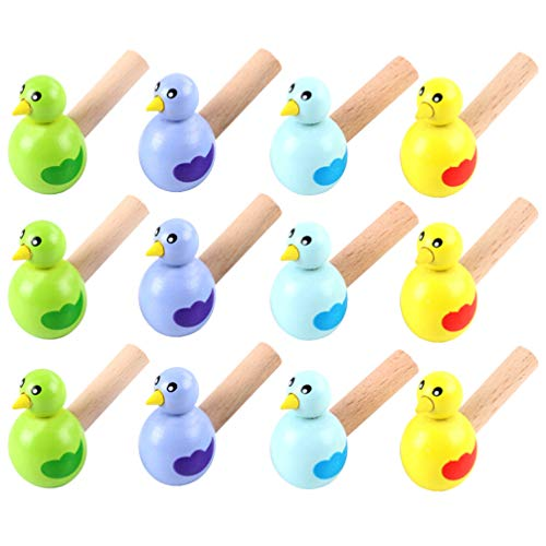 Garneck Bird Whistle Wood Music Instrument Toy for Teenagers Kid Birthday Party Favor 15pcs (Random Color)