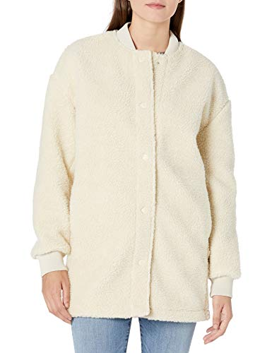 Amazon Brand - Goodthreads Women's Relaxed Fit Sherpa Long Sleeve Snap Front Coat, Off White, Small