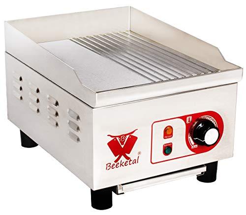 Beeketal 'BHGP-4' Profi Gastro Gusseisen Grillplatte elektrisch mit 27 x 32 cm Grillfläche (glatt & geriffelt), stufenlos 50-300 °C (1800W), Elektrogrill mit Spritzschutz Aufkantung und Fett Behälter