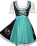 Edelweiss Creek 3-Piece German Oktoberfest Dirndl Dress, Black and Aqua Green (14)
