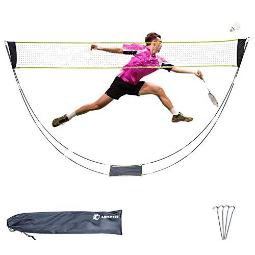 AlpsWolf Portable Badminton Net Set with Stand Carry Bag, Volleyball Badminton Combo Set with Net, Folding Volleyball Tennis Net with Tent Stakes for Ball Games Backyards Outdoor Team Sports