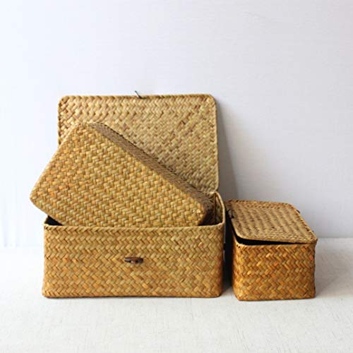 Tianzhi Huafeng Woven storage basket box, rectangular straw storage box, desktop clothing and sundries storage, creative packaging with portable gift box (Color : Orange, Size : S)