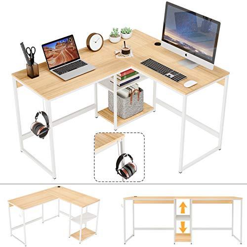 "Domy Home 74""L-Shaped Computer Desk, Modern Corner Desk Student Kids Writing Table w Storage Shelves, Headphone Hook, 2 Person PC Laptop Workstation for Home Office, Metal Frame Easy Assembly Oak"
