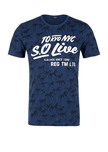 s.Oliver RED Label Herren Gemustertes Shirt mit Label-Print Blue AOP L