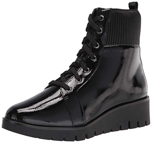 Anne Klein Women's LACE UP Wedge Bootie Fashion Boot, Black Crinkle Patent, 6