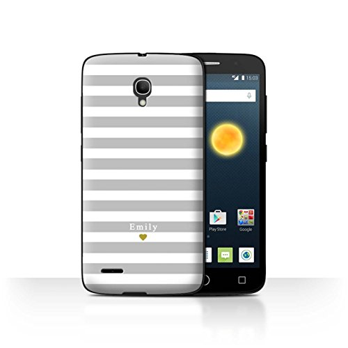 Stuff4Phone Case/Cover/Skin/alcpop25/Custom Stripes/Striped Collection Coeur Argent/Gris