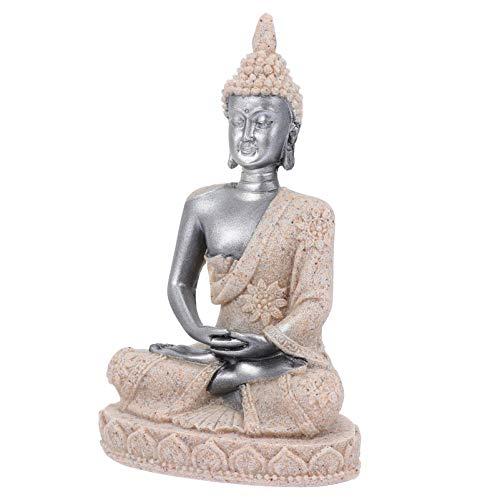 Balacoo Fish Tank Buddha Statue Ornament Aquarium Sandstone Buddha Sitting Figurine Landscape Decoration (Style A)