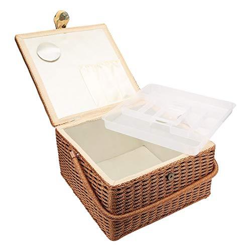 Marco de madera grande Retro con tapa Caja de almacenamiento de costura...