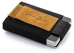 JAIMIE JACOBS Nano Boy Mini Wallet, Mini Geldbörse aus Textil, Kleiner Geldbeutel, Slim Wallet mit Zugband Kartenhalter, Mini-Portmonee, Kartenetui für Herren und Damen (Büffelleder Hellbraun)