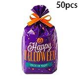 Hieefi 50 PCS Caramelo De Halloween Regalo Tratamiento De Las Bolsas De Plástico Bolsas De Dulces Bolsas Truco O Bolsos De Gato para El Regalo del Partido De Halloween del Favor De Ventas (Púrpura)