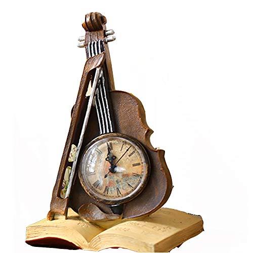 Mantel Klok Vintage Creatieve Viool Tafel Klok Batterij Bediende Decoratieve Voor Thuis Woonkamer Kantoor Voor Woonkamer Open Haard Office Home Décor