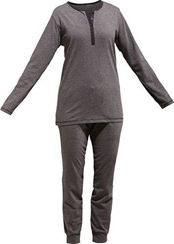 Erwin Müller Damen-Schlafanzug, Pyjama, Zweiteiler, Nachtwäsche Single-Jersey Uni anthrazit Größe 46 - weich und anschmiegsam, Hose mit abgestepptem Gummibund und Eingriffstaschen