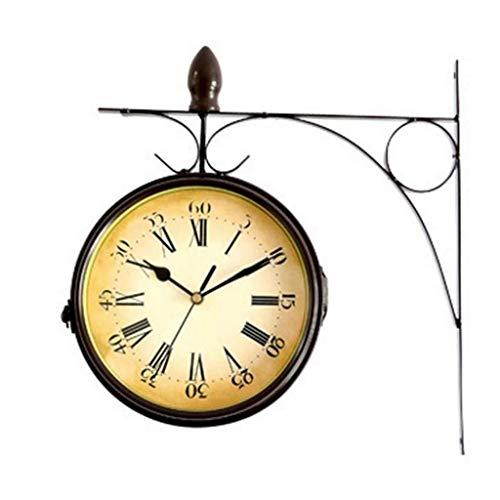 GXQDL-01 Wanduhr,Uhr, Garten im Freien Vintage doppelseitige Metalluhr wetterfeste Retro-Station Quarzuhr mit Außenhalterung && römischen Ziffern Display