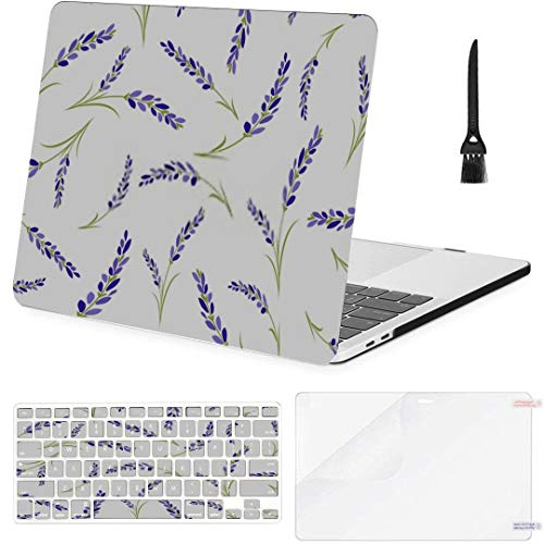 MacBook Pro 13 Inch Case Seamless Lavender Flowers Pattern On White MacBook Air 13 Inch Case with Keyboard Cover Screen Protector Cleaning Brush