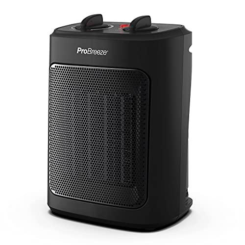 Pro Breeze Mini Calefactor Cerámico de 2000 W, 3 Niveles de Potencia y Modo Solo Ventilador - Para Casa, Oficina Escritorio, Dormitorio o Terraza - Negro