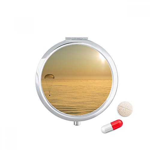 DIYthinker Golded Bright Sun Clound Ballon Travel Pocket Pill case Medicine Drug Storage Box Dispenser Mirror Gift