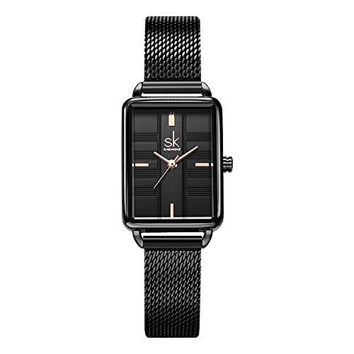 Reloj Femenino SHENGKE, Reloj de Cuarzo con Caja Rectangular y Correa de Malla milanesa de Acero Inoxidable, Reloj de Vestir de Clase Informal de Negocios, Reloj Femenino