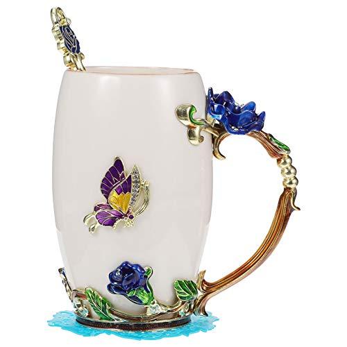 Hemoton Juego de 4 Tazas de Té de Flores Esmaltadas con Cuchara Posavasos de Tela Taza de Café de Cerámica Tazas de Leche para El Desayuno para Mujeres Boda Cumpleaños Día de Las Madres