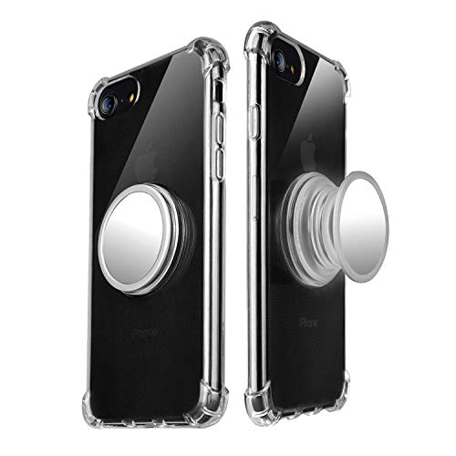 Freysite iPhone 7/8 Case with 360° Rotating Round Stand, Compatible with Magnetic Car Anti-Fingerprint Drop-Proof TPU Slim Case for iPhone iPhone 7/8 (Transparent)