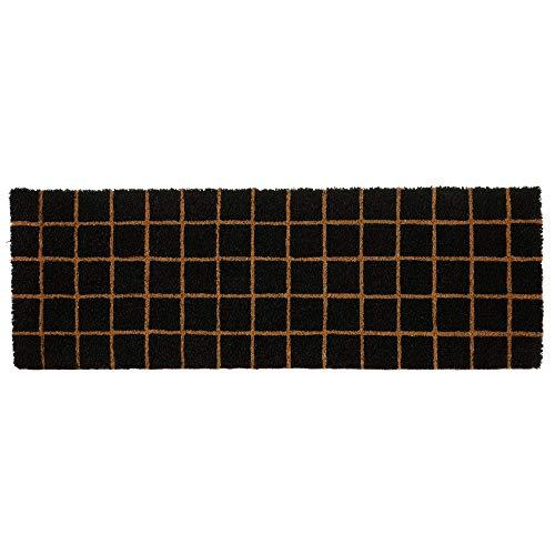 Felpudo Cuadro Antideslizante Negro de Fibra de Coco de 75x25 cm. - LOLAhome