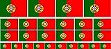 Mini Aufkleber Set - Pack glatt - 4x 51x31mm+ 12x 33x20mm + 10x 20x12mm- Sticker - Portugal - Flagge - Banner - Standarte fürs Auto, Büro, zu Hause & die Schule - Set of 26