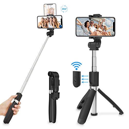 SYOSIN Selfie Stick, Bluetooth Selfiestick Stativ 3 in 1 Mini Selfie-Stange mit Bluetooth-Fernauslöse Handy Erweiterbarer Tragbar Monopod Handyhalter 360°drehnbar für Smartphone 4.7-6 Zoll