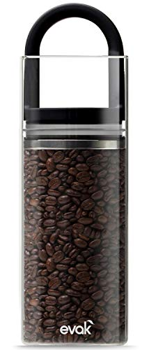 Best PREMIUM Airtight Storage Container for Coffee Beans, Tea and Dry Goods - EVAK - Innovation that Works by Prepara, Glass and Stainless, Soft Touch Black Handle, Large -