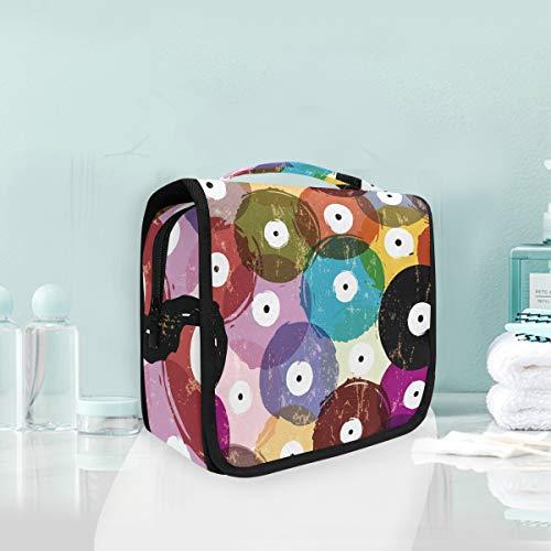 Make-up Cosmetic Bag Abstract Kleurrijke Vinyl Record Naadloos Patroon Draagbare Opslag Travel Toilettas