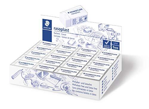 Staedtler 526 B40 Radierer rasoplast phtalat und latexfrei, 16 x 13 x 33 mm, Schachtel mit 40 Stück, weiß