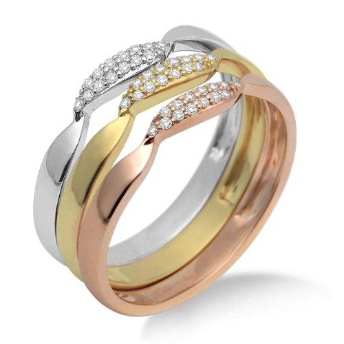 Miore MF9011RM - Anillo de mujer de oro tricolor (9k) con 42 diamantes (talla: 12)