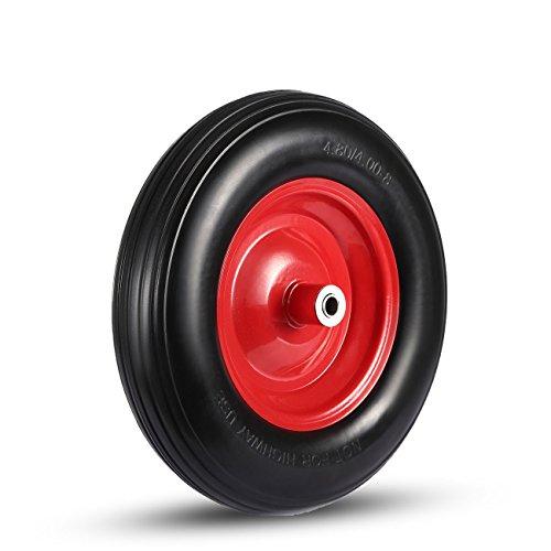 MAXCRAFT Schubkarrenrad mit Achse aus Vollgummi PU 4.80/4.00-8 Ersatzrad Reifen 200 kg - Schwarz/Rot