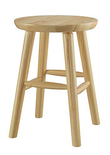Runder Holz-Hocker als Beistelltisch oder Blumenhocker Schemel aus massiver Kiefer 90.71-42, Holzart/Holzfarbe:Kiefer