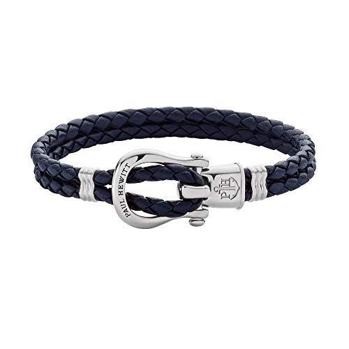 PAUL HEWITT Schäkel Armband Damen PHINITY - Leder Armband Frauen (Marineblau), Armband Damen mit Schäkel Verschluss aus Edelstahl (Silber)