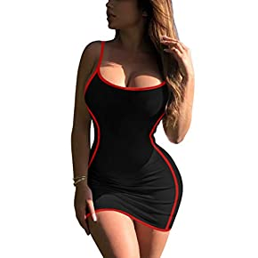 GOBLES Women's Sexy Spaghetti Strap Sleeveless Bodycon Mini Club Party Dress