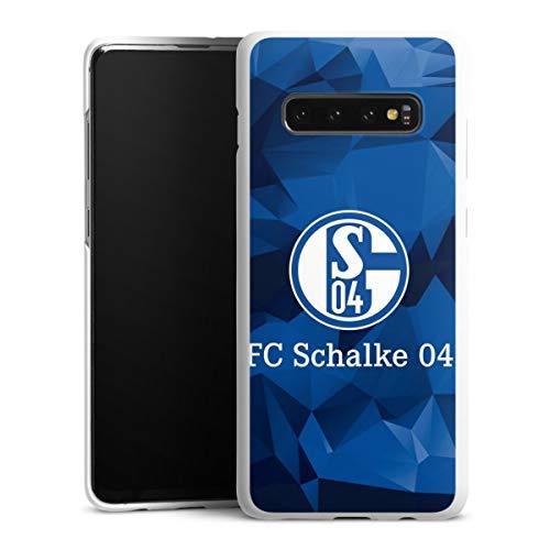 DeinDesign Hard Case kompatibel mit Samsung Galaxy S10 Plus Schutzhülle weiß Smartphone Backcover FC Schalke 04 Muster Offizielles Lizenzprodukt