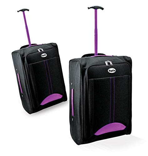 KEPLIN Lightweight Wheeled Cabin Approved Travel Bag Suitcase Hand Luggage Trolley (Purple/Black)