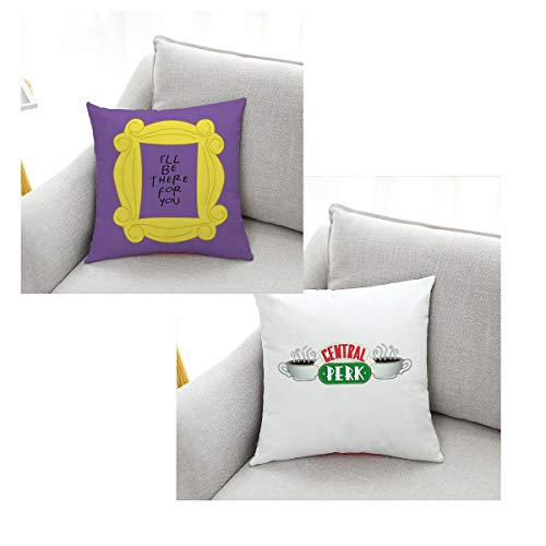 Peephole Yellow Door Frame Pillow Case Set of 2 1818 inch -Central Perk coffee-Sofa Cushion Covers