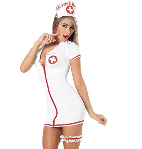 Donna Biancheria Intima Sexy Infermiera Lingerie Tentazione Babydoll Con Calze Camera Da Letto Cosplay Lingerie Costume Fever da infermiera per Natale Halloween
