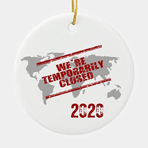 onepicebest Adornos colgantes para árbol de Navidad, Co-Vid 2020 World Temporal Cerrado Cerámica Redondo Ornamento para Vacaciones Bodas Decoración Árbol Adornos Regalos de Navidad