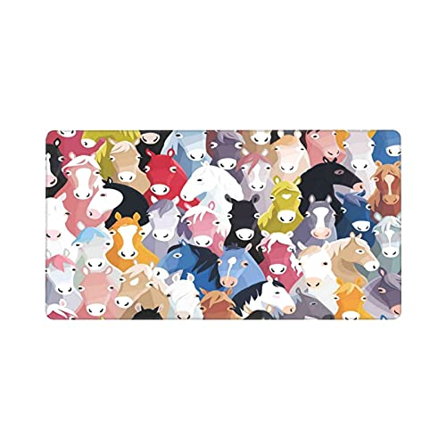 Alfombrilla de ratón Grande para Juegos,Patrón con Estilo de Dibujos Animados Coloridos Caballos Pony Tema Infantil Arte,Base de Goma Antideslizante,Adecuada para Jugadores,PC y portátil(80 x 30cm)