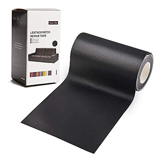 Leather Repair Tape Patch Kit Self Adhesive Patch Black Matte Finish 3X60 inch Leather Tape for Sofa,Couches,Car Seats,Handbags,Furniture,Drivers Seat,Jackets,First Aid Vinyl Repair Kit