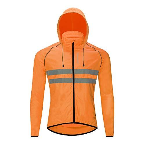 WOSAWE Giacca da Ciclismo da Uomo, Traspirante Giacca a Vento con Cappuccio Removibile per Moto, Escursionismo, Arrampicata, Corsa, Jogging (Arancia XL)