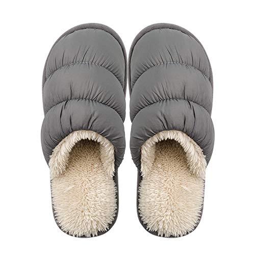 B/H CáLido Pantuflas Zapatos,Zapatillas de Pareja de Invierno de algodón, Zapatos de Felpa Impermeables y cálidos-Gris_43-44,Mujer Zapatillas Peluche Mujer